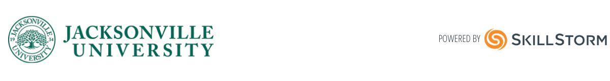 Jacksonville University Logo, powered by SkillStorm (1)